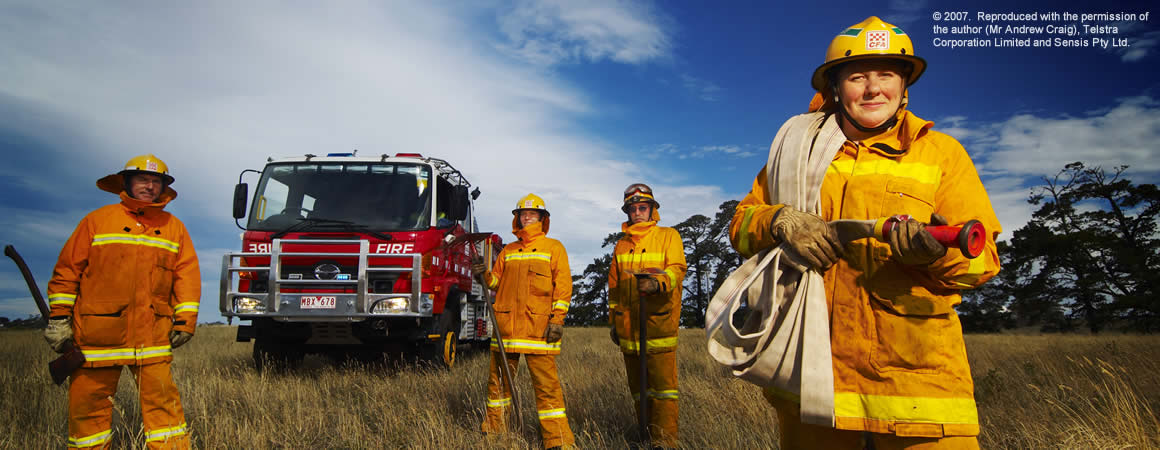 CFA crew infront of the fire tanker