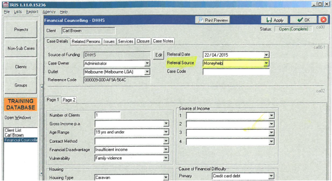 IRIS financial counselling screen with 'Moneyhelp' entered into Referral Source field and highlighted.