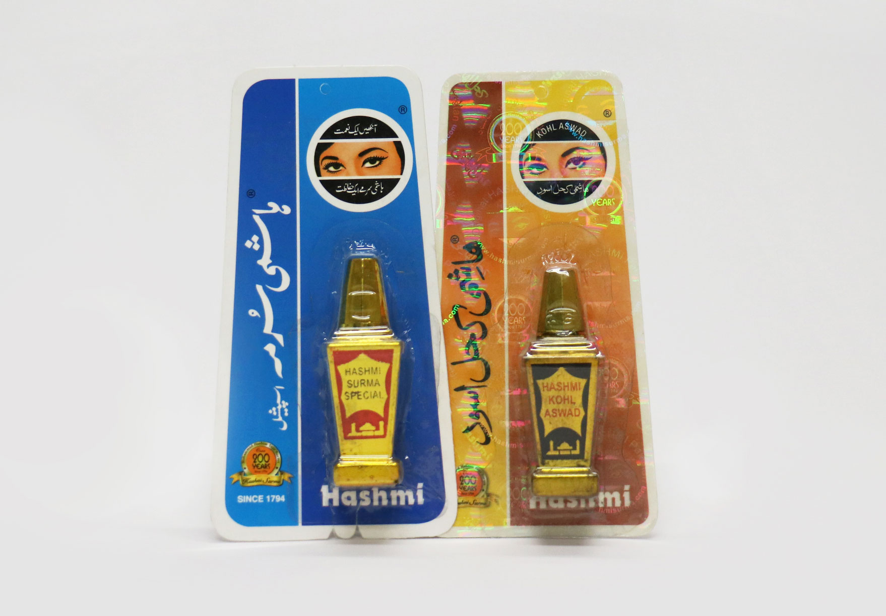 Photo of eyeliner products branded 'Hashmi Surma Special' and 'Hashmi Kohl Aswad'.