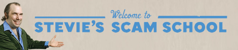 Banner: Welcome to Stevie's Scam School